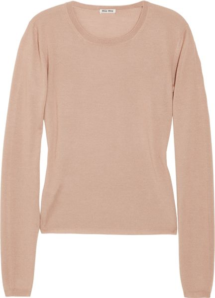 Miu Miu Cashmere and Silkblend Sweater in Pink (blush) - Lyst