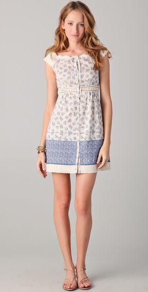 Philosophy di Alberta Ferretti Blue Floral Dress - Lyst
