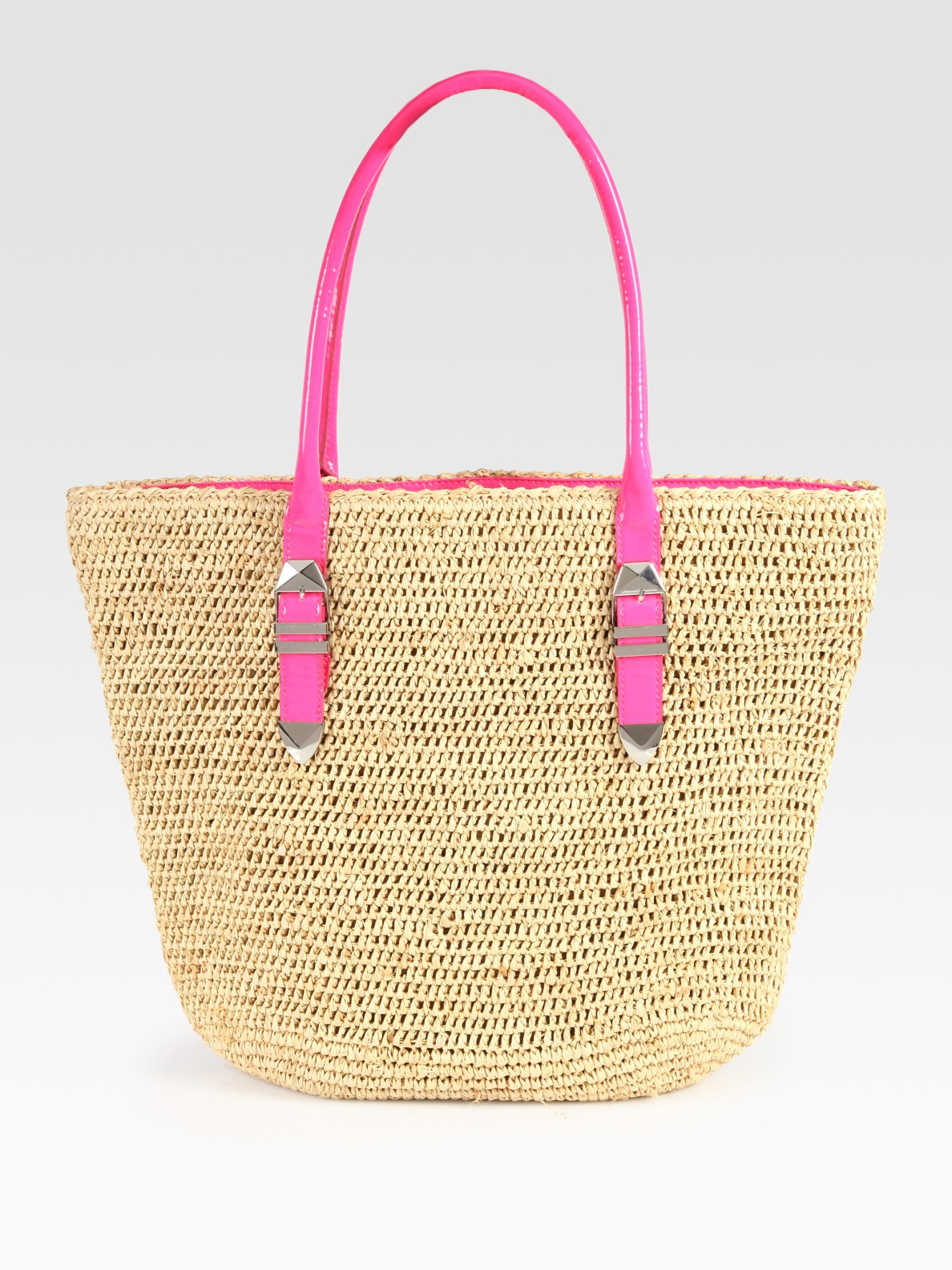 Rebecca minkoff Raffia & Leather Boyfriend Beach Tote in Natural ...