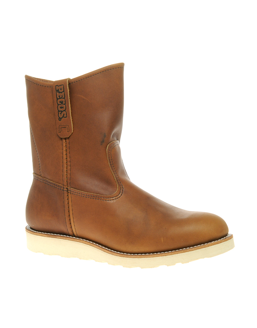 wing pecos pull on boots in brown for lyst
