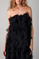 Reem Acra Ruffled Cocktail Dress in Black (ebony) - Lyst
