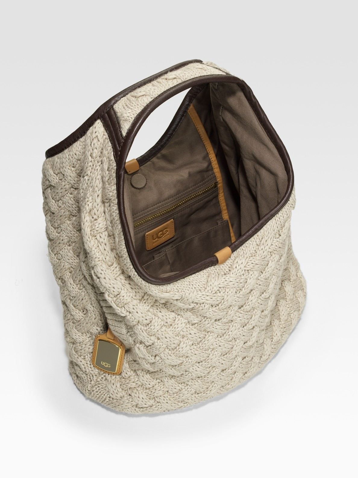Knitting Pattern Hobo Bag : Ugg Knit Wool Hobo Bag in Beige Lyst