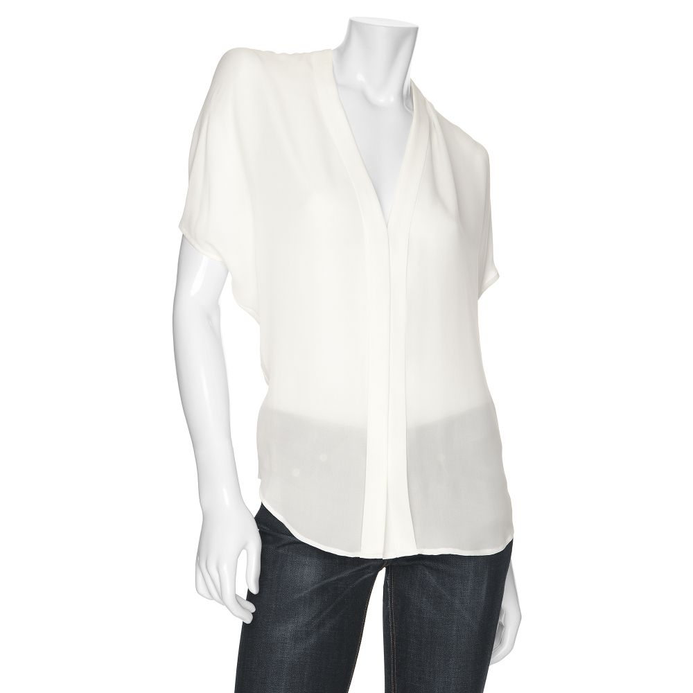 045615503505a5 Lyst - Vince Double Placket Button Down Silk Blouse in White