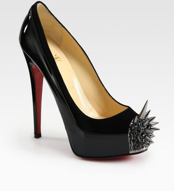 Christian Louboutin Asteroid Suede and Patent Leather Spike Pumps - Lyst