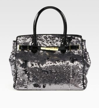 Love Moschino North To South Sequined Silk & Patent Leather Tote Bag - Lyst