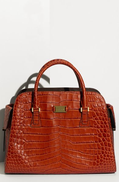 Michael Kors Satchel Embossed Croc in Red (tangerine) - Lyst