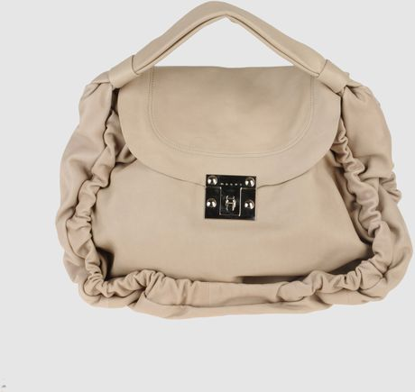Marni Large Leather Bag in Beige - Lyst