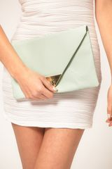 Asos Collection Asos Pyramid Metal Tip Clutch in Green (mint) - Lyst