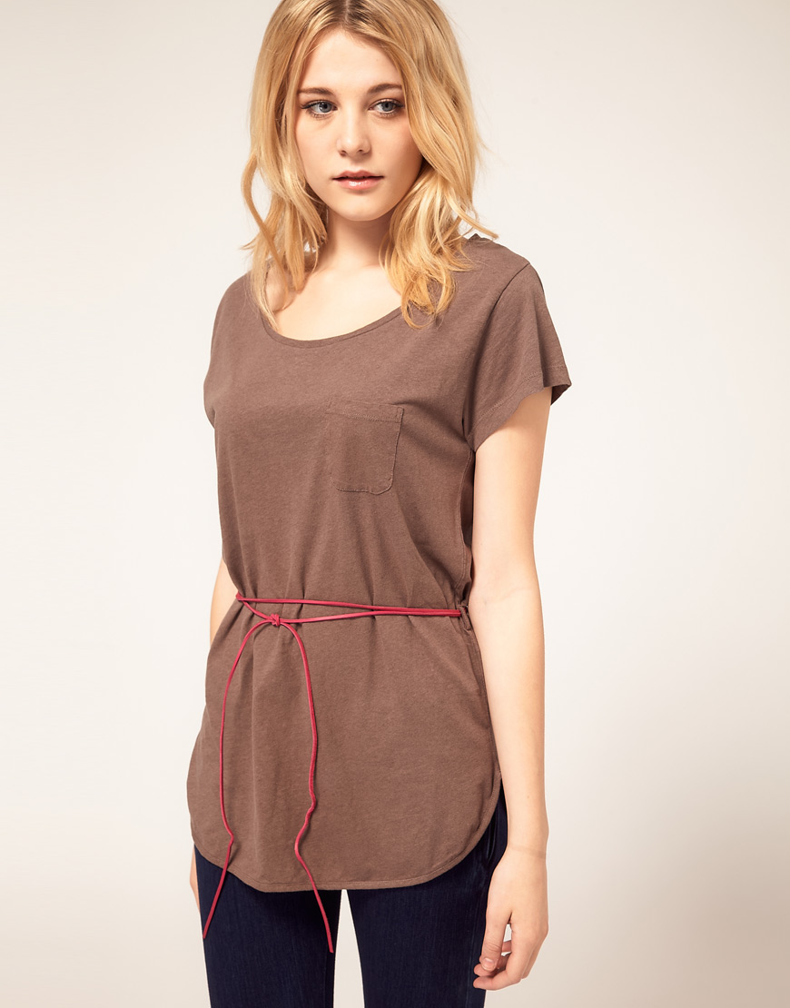 4882c0628 French Connection T Shirt Tunic With Belt in Brown - Lyst