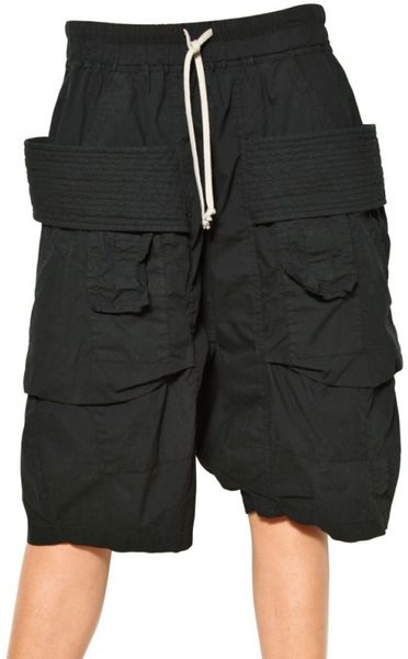 Rick Owens Cargo Stretch Cotton Poplin Shorts in Black - Lyst