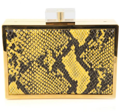 Stella Mccartney FauxPython Box Bag in Yellow - Lyst