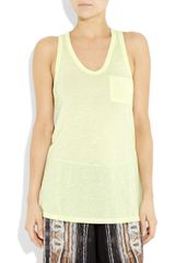 T By Alexander Wang Classic RacerBack Jersey Tank in Yellow (green) - Lyst