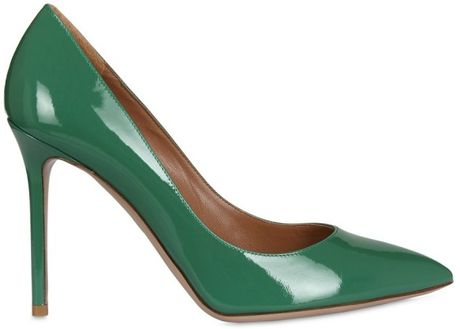 Valentino 100mm Patent Pointy Pumps in Green (emerald) - Lyst