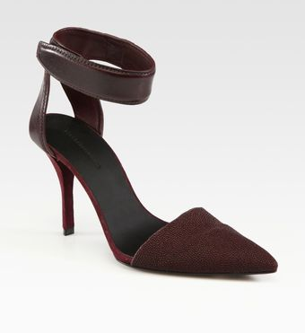 Alexander Wang Liya Leather, Suede and Rubberized Stingray Point Toe Pumps - Lyst