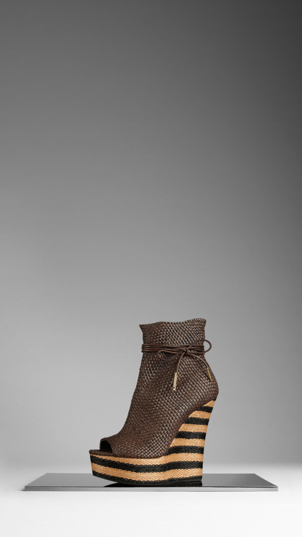 burberry striped wedge woven leather boots in brown