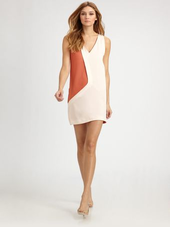 Cacharel Silk Colorblock Dress - Lyst