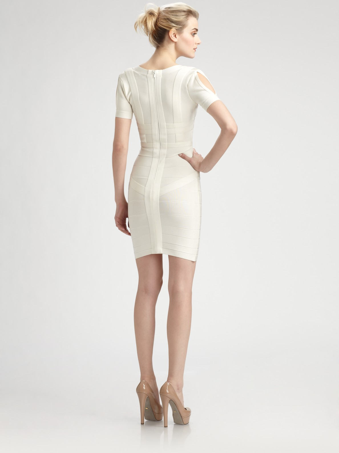 5ab485958425 Lyst - Hervé Léger Wynn Dress in White