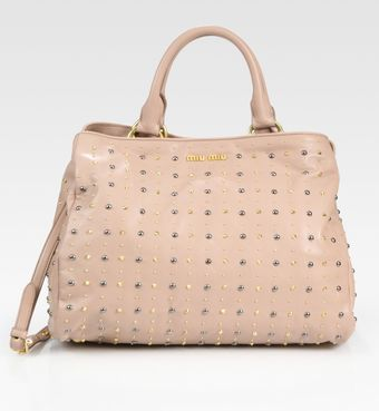 Miu Miu Studded Leather Top Handle Bag - Lyst