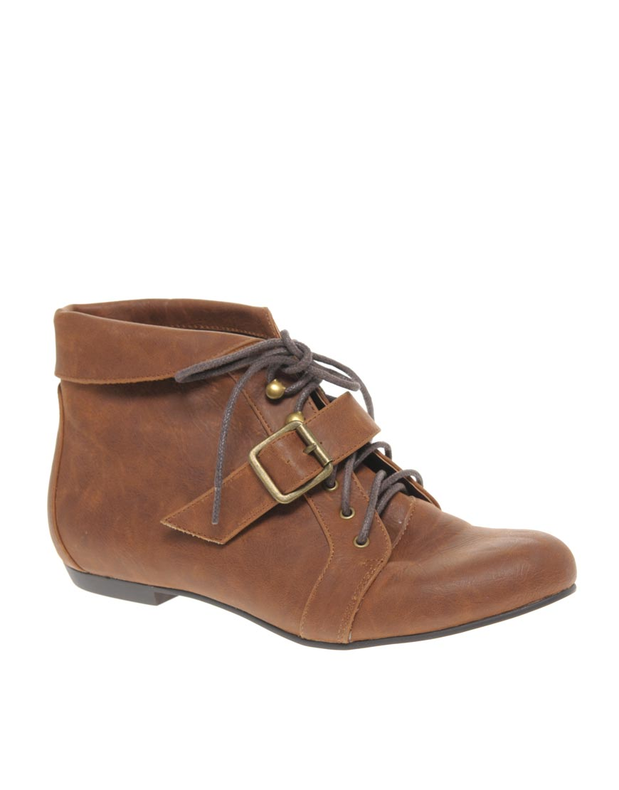 river island lois flat ankle boots in brown lightbrown