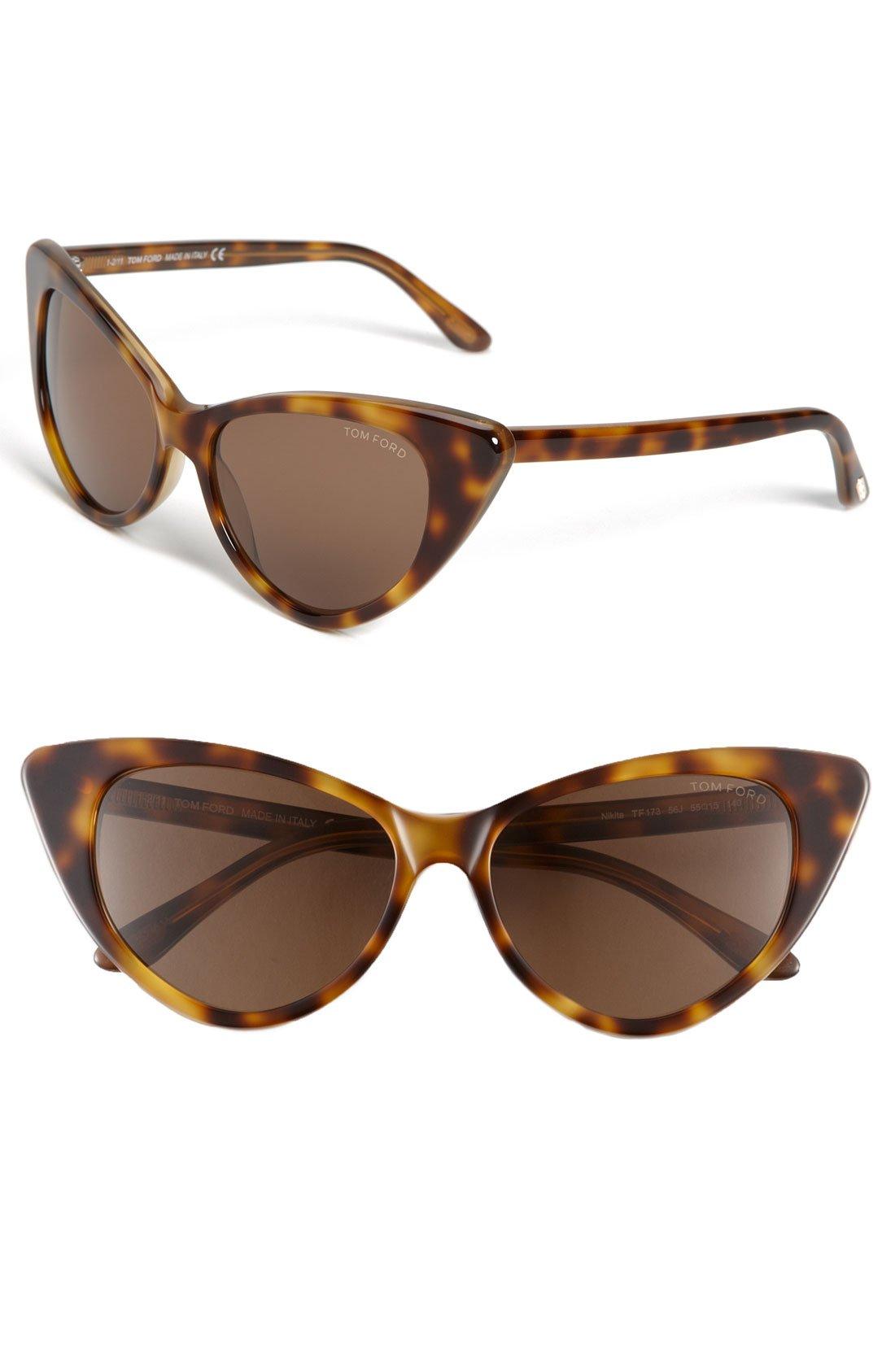 Tom Ford Nikita Cat Eye Sunglasses In Brown (light Havana