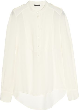 Alexander McQueen Military-inspired Silk-georgette Blouse - Lyst