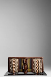 Burberry Beaded Canvas Check Clutch - Lyst