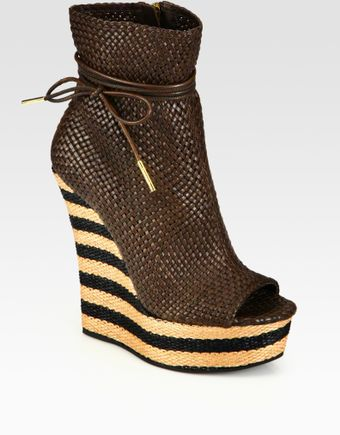 Burberry Prorsum Woven Leather Peep Toe Wedge Ankle Boots - Lyst