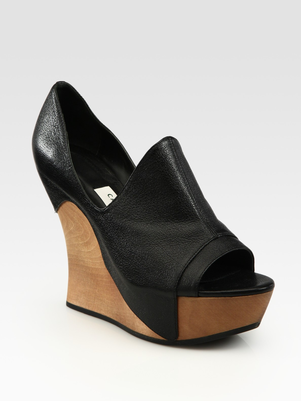 camilla skovgaard tanganica leather wood wedge platform