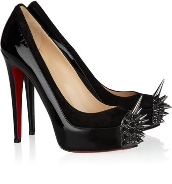 Christian Louboutin Asteroid 140 Suede and Patent Leather Pumps - Lyst