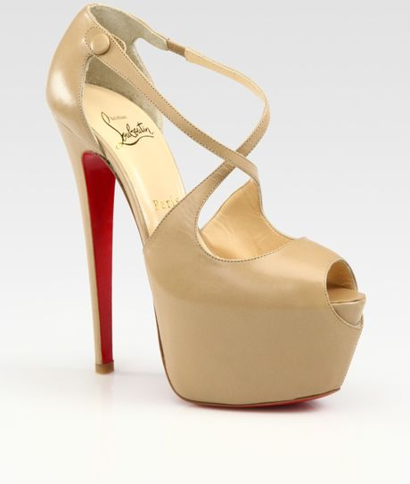 Christian Louboutin Exagona Leather Crisscross Platform Sandals in Beige - Lyst