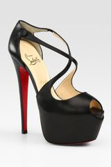 Christian Louboutin Exagona Leather Criss-cross Platform Sandals - Lyst