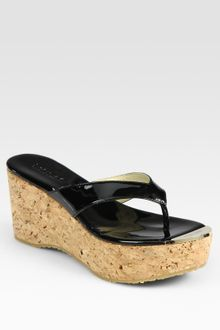 Jimmy Choo Patent Leather Thong Wedge Sandals - Lyst