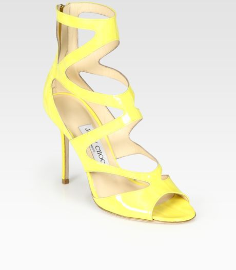 Jimmy Choo Hilary Strappy Patent Leather Sandals in Yellow