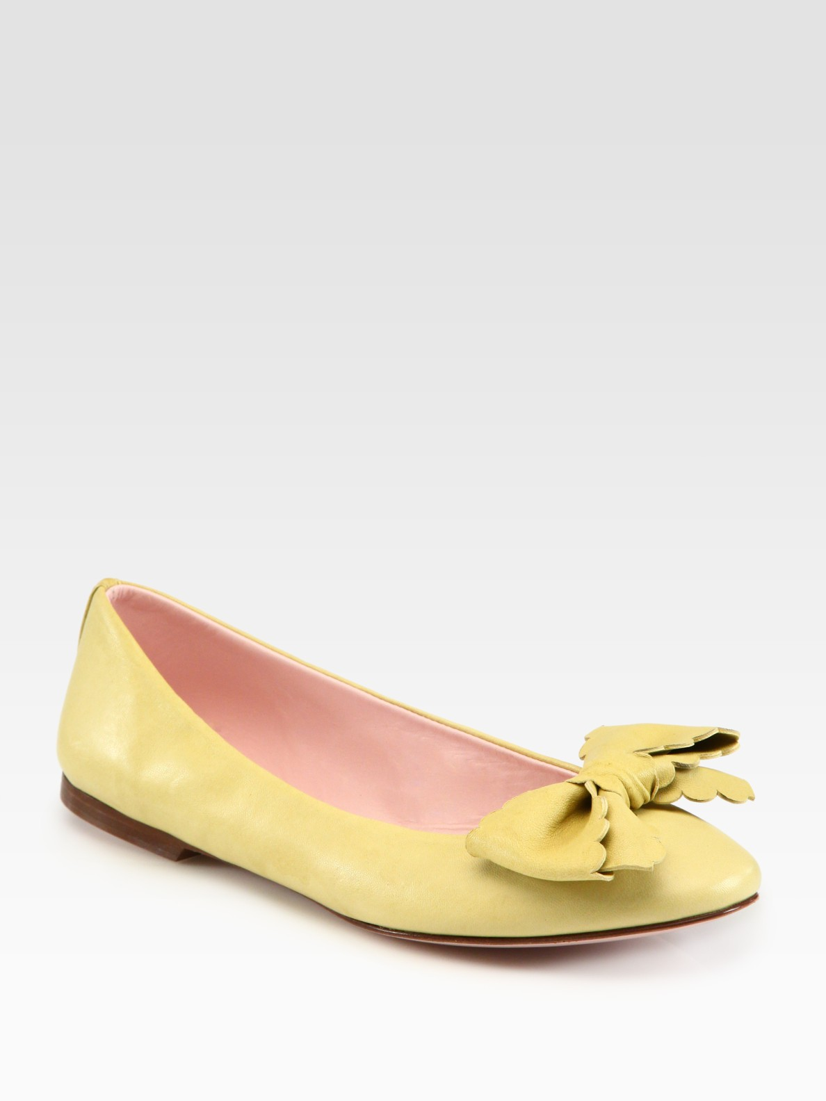 Red Valentino Leather Bow Ballet Flats in Yellow (lime) | Lyst
