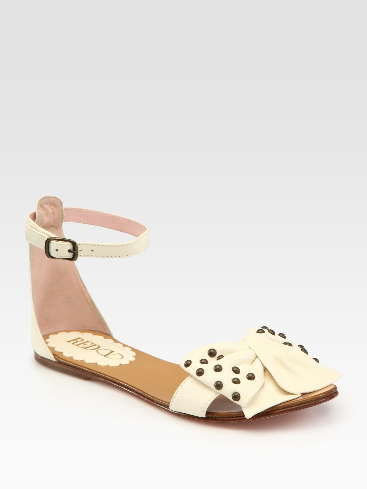 In Bow Lyst Red Lambskin Sandals Valentino Natural Studded 08wPOnXk