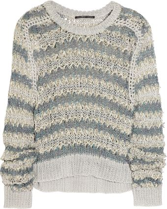 Theyskens' Theory Striped Open-knit Linen-blend Sweater - Lyst