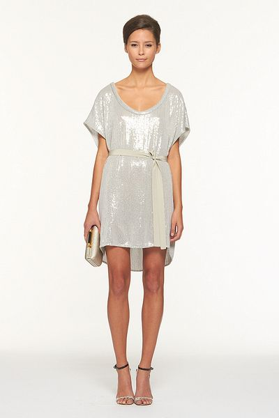 Diane Von Furstenberg Sol Sequined Dress in Silver - Lyst