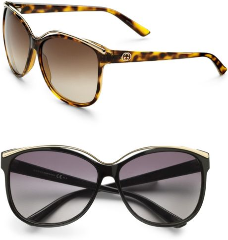 Gucci Metal Trim Sunglasses in Black (brown) - Lyst