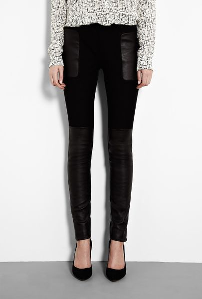 Joseph Black Leather Panel Trouser in Black - Lyst