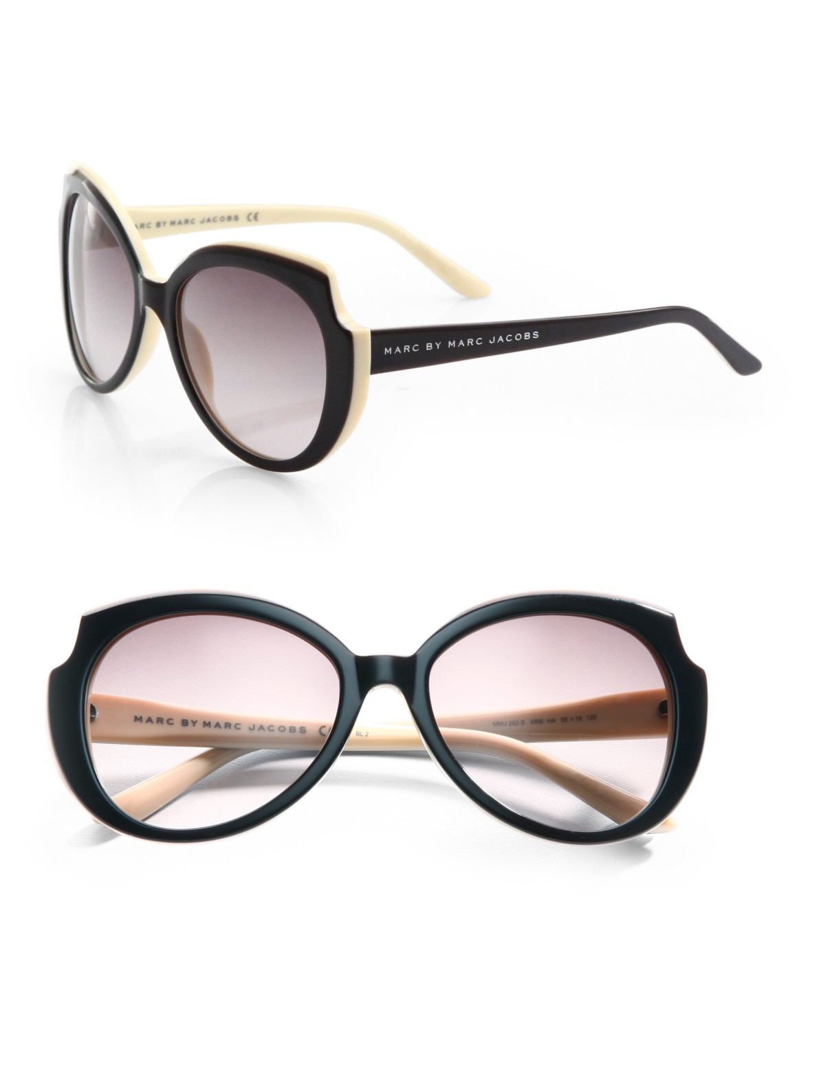 Marc By Marc Jacobs Round Frame Glasses : Marc By Marc Jacobs Two-tone Round Sunglasses in Black Lyst