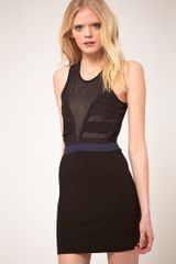 Markus Lupfer Stretch Bodycon Dress With Mesh Detail - Lyst