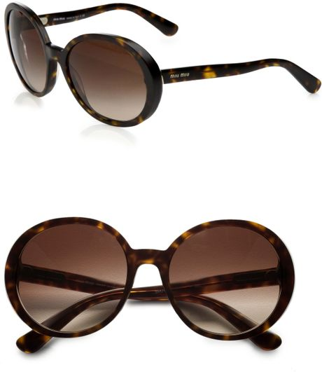 Miu Miu Round Plastic Sunglasses in Black - Lyst
