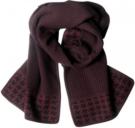 pringle of scotland wool knit hounds tooth scarf in