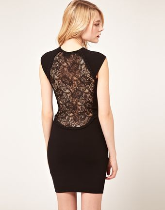 French Connection French Connection Bodycon Dress with Lace Back - Lyst