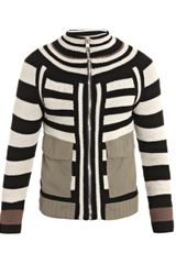 Alexander McQueen Striped Patch-Pocket Cardigan - Lyst