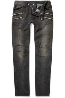 Balmain Washed Zip-pocket Biker Jeans - Lyst