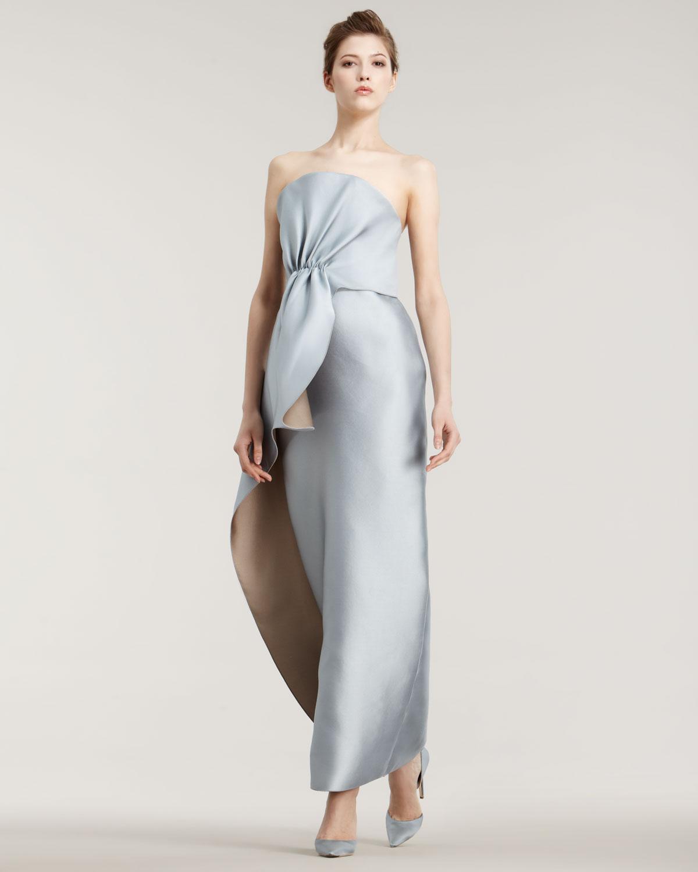 Lyst - Giorgio armani Double-face Silk Gown in Blue