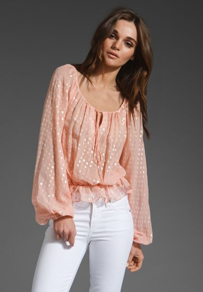 Halston Heritage Peasant Top with Smocking in Bisque/silver in Pink (bisque & silver) - Lyst