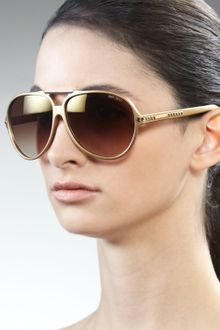 Jimmy Choo Luisa Aviator Sunglasses, Gold - Lyst