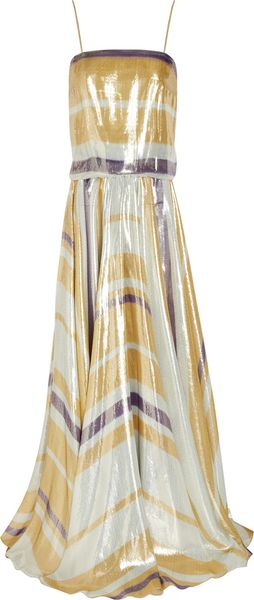 Lanvin Striped Silk-blend Lamé Gown - Lyst